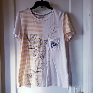 Anthropologie POSTAGE STAMP embroidered moth tee